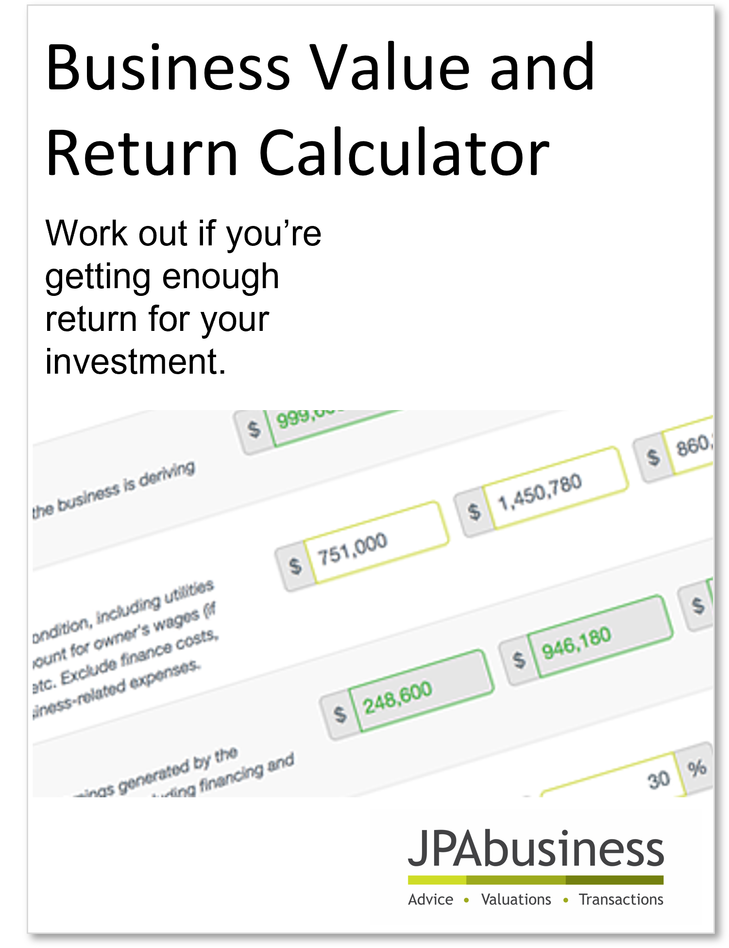 Business value calculator